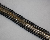 "2 yards black metallic gold braided gimp non stretch sewing trim 7/8"" wide"