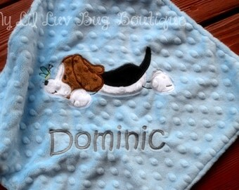 Personalized baby blanket- beagle puppy dog baby blanket in babay blue and grey chevron- baby lovey blanket