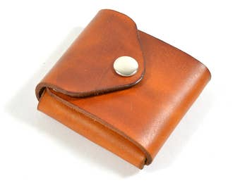 Handmade Leather Card Wallet Hand Dyed Tan Brown Vegetable Tanned