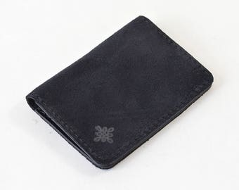 Handmade Navy Suede & Vegetable tanned leather Bi Fold Card Wallet Handmade