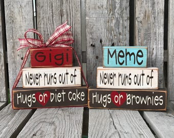 Grandma Nana Mimi Gigi Oma Personalized Wood Block Set The Best Moms birthday Christmas Home decor Mothers Day gift Diet Coke