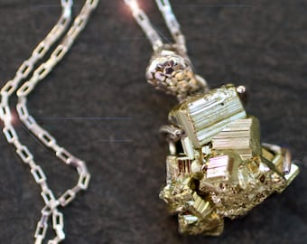 Gold Rush - Pyrite Chunk Sterling Silver Necklace