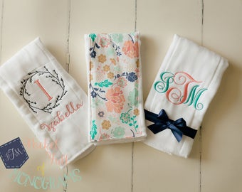 Custom Personalized Floral Burp Cloth Set - Set of 3