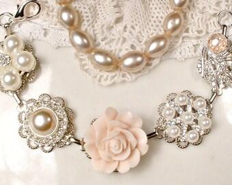 OOAK Blush Pink & Champagne Bridal Bracelet, Ivory Pearl,Rhinestone, Silver Vintage Wedding Earring Bracelet,Bridesmaid Gift Romantic Rustic