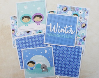 Winter -  Premade Scrapbook Page Mat Set SEWN