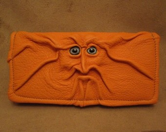 Grichels leather ladies wallet - textured bright orange with silvery blue fish eyes
