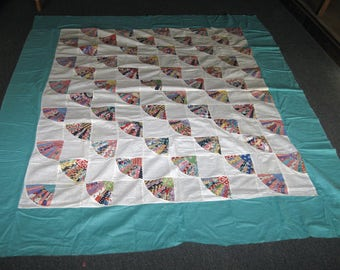 Vintage Quilt Top Grandmother's Fan Quilt Turquoise Blue & Small Print Fabric