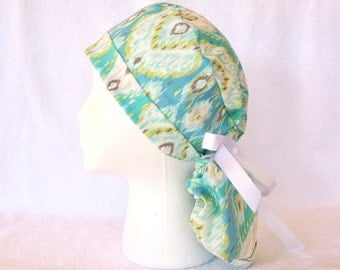 Surgical PonyTail Scrub Hat for Women - Turquoise