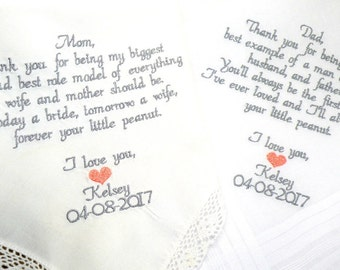 Mother and Father of the Bride Personalized Mom Dad Gifts for Mom & Dad 2 Wedding Gift for Mom and Dad Wedding Gifts By Canyon Embroidery