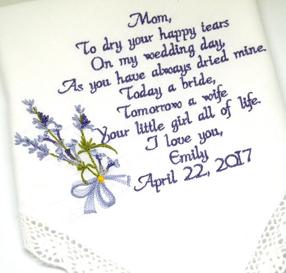 Personalized Wedding Handkerchief Mother of the Bride Lavender Embroidered Wedding Handkerchief Gift Lavender Flowers Canyon Embroidery