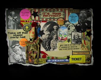 Birthday Card, Circus Clown, Scary Clown Card, Creepy Clown Card, Clown, 84, Vintage Clown Images, Creepy Decoration,  Birthday Greeting