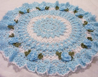 X- large hand dyed blue centerpiece doily