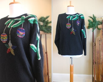 Ugly Christmas Sweater Party Vintage Holiday Black Ornaments Fuzzy Beads M