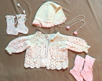 Vintage Baby Clothing Set, 1960's Knit Crochet Sweater, Hat, Socks, Pink and Cream Hand Knit Baby Clothes SALE