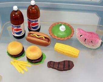 Miniature Toy Dollhouse Food Pepsi Hotdog Hamburgers Corn Fries Pie Watermelon Barbie BBQ