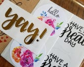 Sticker sample pack -Limit 1 per customer - gold foil yay!, hello books florals, sending lots of love, have a great day