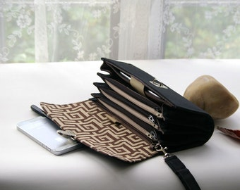 Envelope system wallet clutch, coupon organizer budget envelope cash wallet money accordion black wallet geometric print READY TO SHIP