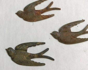 3  swallows -bird findings,great patina swallows,small bird findings,flying bird finding-metal bird,metal stampings