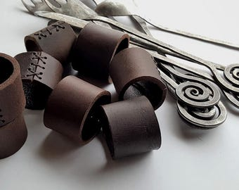 Dark Brown Leather Napkin Rings ~ Rustic Home Decor ~ Wedding Accessories ~ Casual Dining ~ Alfresco ~ Hostess Gift ~ Housewarming Gift