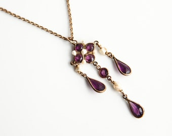 Antique Victorian / Edwardian Amethyst and Fresh Water Pearl Necklace ~ Vintage Jewelry ~ Victorian Style Necklace ~ WS&B mark