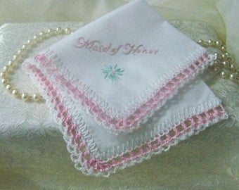 Maid of Honor Handkerchief, Hanky, Hankie, Bridal party gift, Hand Crochet, Pink, Embroidered, Personalized, Custom, Maid of Honor gift