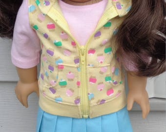 Pleated Skirt, Cupcake Print Hooded Vest And T-Shirt For American Girl Or Similar 18-Inch Dolls