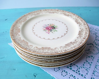 Vintage Bread Butter Dessert Plates Paden City Floral Set of Six - Weddings Bridal