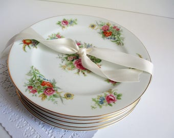 Vintage Salad Plates Aichi China Occupied Japan Floral Set of Five