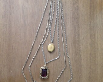 Multi Layer Gold Necklace with Locket & Purple Jewel *PRICE REDUCED!*