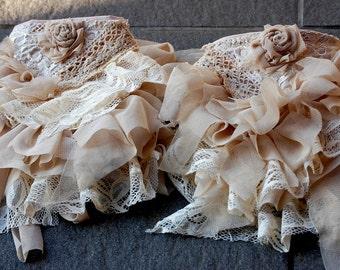 Spats, ankle cuffs, steampunk, victorian, mori girl, cottage chic, Jane Austen, vanilla, ruffle spats, ankle ruffle, bridal, wedding, woman