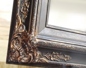 "BLACK BATHROOM MIRROR For Sale Baroque Decorative Ornate Rustic Patina Black 31""x27"" Mirrors Black Framed Vanity Mirror Bathroom Mirror"
