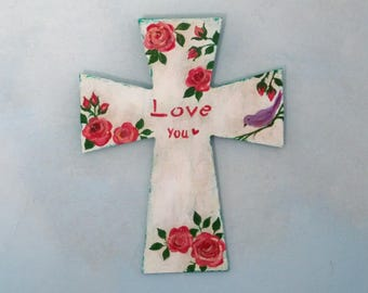 Decorative wooden cross, hand painted, religious gift, white floral cross, shabby chic wall cross, distressed antiqued, cross decor,