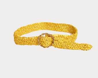 Vintage 70s Rope Belt / 1970s Woven Yellow Satin Rope Belt