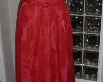 Vintage 60s 1960s Red Satin Brocade Dress Tie Drop Waist Pleated Over Skirt Look Gown L Large