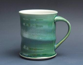 Pottery coffee mug, ceramic mug, stoneware tea cup jade green 16 oz 3920