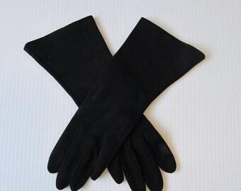 ON SALE NOW Vintage 1950's Midnight Black Wrist Gloves / Gauntlet Mid-Length Ladies Gloves