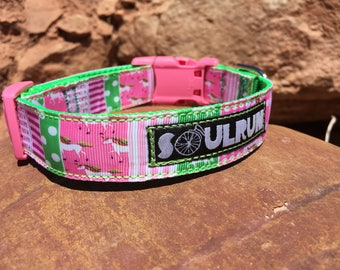 Dog Collar - Unicorns and Rainbows  with Pink Buckle