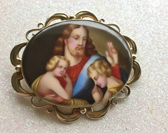 Victorian Painted Brooch of Jesus and Children - 1850's