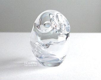 France Art Vannes Crystal Glass Owl Figurine Bowl Pipe Holder