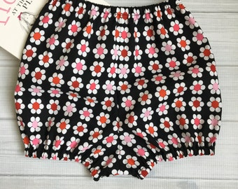 Bubble bloomer black and bright flowers diaper cover bubble shorts red pink girls baby toddler- Eloise