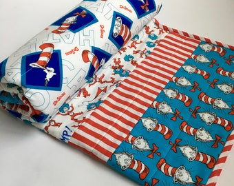 Dr. Seuss baby quilt red turquoise crib bedding Cat in the Hat baby blanket