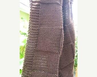 Spring Sale Throw blanket, knit blanket acrylic yarn (dark brown)