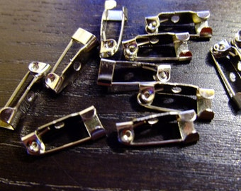 Destash (10) Tiny Pin back settings - silver plate for jewelry making, crafts, brooches, pins
