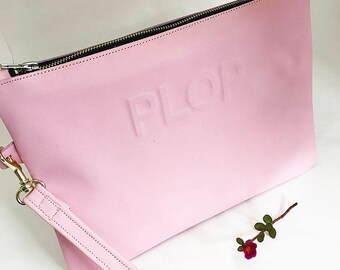 Bridal Clutch Personalised Leather Custom Initials Candy Pink Leather Bridal Purse Handbag Wedding Pouch Bridesmaid Evening Bag Mothers Day