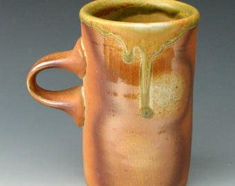 WOOD FIRED MUG #27 - Stoneware Mug - Pottery Mug - Ceramic Mug - Coffee Mug - Tall Mug - Anagama - Wood Fired Pottery