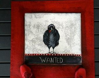 Raven Wanted in Cherry Heist- Floor Cloth- Salt Spring Floor Art