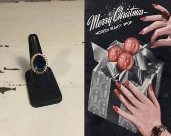 As She Undoes the Wrapping - Vintage 1960s Blue & Clear Cocktail Ring GP - 8