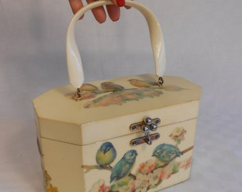 ThreeLittle Dickie Birds - Vintage 1950s Blue Birds On Cherry Blossoms Decoupage Wooden Handbag