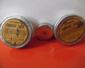 Vintage medical tin, Carbolic salve tin, drug store tin, vintage tin, old tin,