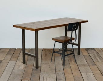 Vintage reclaimed wood desk with modern square steel legs in choice of size, thickness and finish